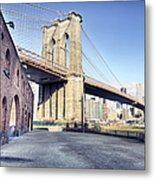 Brooklyn Bridge From Down Under Metal Print