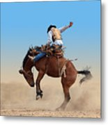 Bucking Rodeo Horse Isolated With Metal Print
