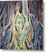 Buddha Head In Tree Roots Metal Print