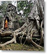 Buddhist Monk At Angkor Wat Temple Metal Print