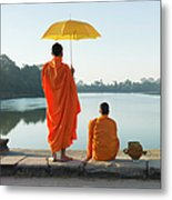 Buddhist Monks Standing In Front Of Metal Print