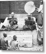 Buddhist Monks Teaching Law From Palm Metal Print