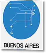 Buenos Aires Blue Subway Map Metal Print