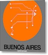 Buenos Aires Orange Subway Map Metal Print