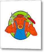 Bull Holding Barbecue Sausage Drawing Color Metal Print