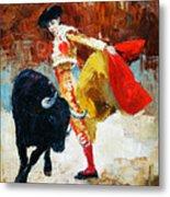 Bullfighting In Spain, Oil Painting Metal Print