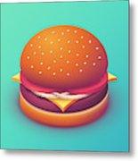 Burger Isometric - Plain Mint Metal Print