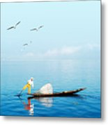 Burma Myanmar Inle Lake Traditional Metal Print