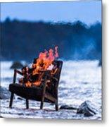 Burning Old Armchair On The Seashore Metal Print