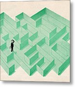 Businessman Trapped In Maze Metal Print