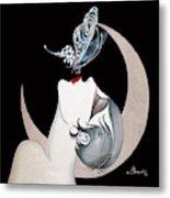 Butterfly Kiss French Art Deco Flapper Woman Metal Print