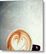 Caffe Macchiato Heart Shape On Brushed Metal Print