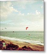 California Tilt Shifted Kite Surfers Metal Print