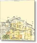 Canal Bank In Venice, Italy. Vertical Metal Print
