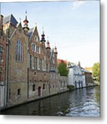 Canal In The Old Town Of Brugge Metal Print