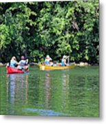 Canoeing On The Rideau Canal In Newboro Channel Ontario Canada Metal Print