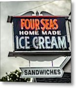 Cape Cod Four Seas Home Made Ice Cream Neon Sign Metal Print