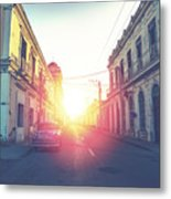 Car Drive In Havana Street, Faded And Metal Print