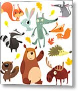 Cartoon Forest Animal Characters. Wild Metal Print