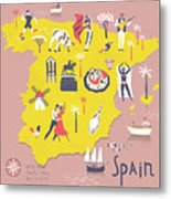 Cartoon Map Of Spain With Legend Icons Metal Print