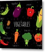 Cartoon Vegetables Illustration On Metal Print