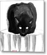 Cat On Wood Metal Print