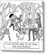Cat Person Inthe Park Metal Print