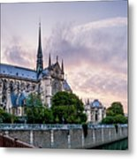Cathedral Of Notre Dame From The Bridge - Paris France Metal Print
