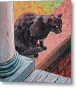 Cat's Pause 2 - Black Cat On The Front Porch Metal Print