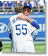 Celebrities At The Los Angeles Dodgers Metal Print