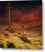 Celtic Cross Llanddwyn Island Metal Print