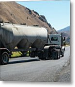 Cement Truck Turning Metal Print