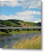 chainbridge over river Tweed at Melrose Metal Print