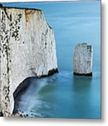 Chalk Cliffs And Sea Stack At South Metal Print