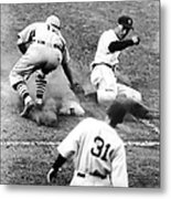 Charlie Gehringer Slides Into First Base Metal Print