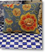 Checkerboard And Pillow Metal Print
