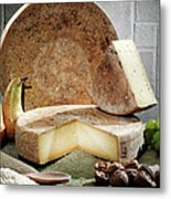 Cheese, Fruit And Grains On Table Metal Print