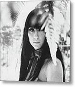 Cher Portrait With Ferns Metal Print