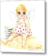 Cherub In The Sand Metal Print