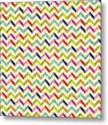 Chevron Multi Color Zigzag Pattern Metal Print