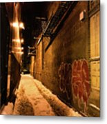 Chicago Alleyway At Night Metal Print
