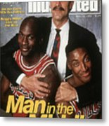 Chicago Bulls Coach Phil Jackson, Michael Jordan, And Sports Illustrated Cover Metal Print