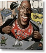 Chicago Bulls Michael Jordan Its Supermichael . . . Or Is It Sports Illustrated Cover Metal Print