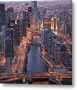 Chicago Downtown - Aerial View Metal Print