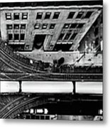 Chicago L Train On Tracks Metal Print