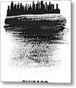 Chicago Skyline Brush Stroke Black Metal Print