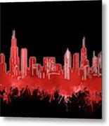 Chicago Skyline Watercolor 5 Metal Print