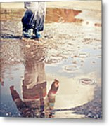 Child In A Puddle Metal Print