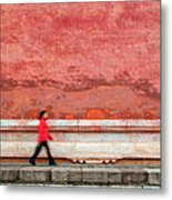 Chinese Young Lady Walking By Monument Metal Print