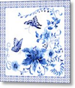 Chinoiserie Blue And White Pagoda With Stylized Flowers Butterflies And Chinese Chippendale Border Metal Print